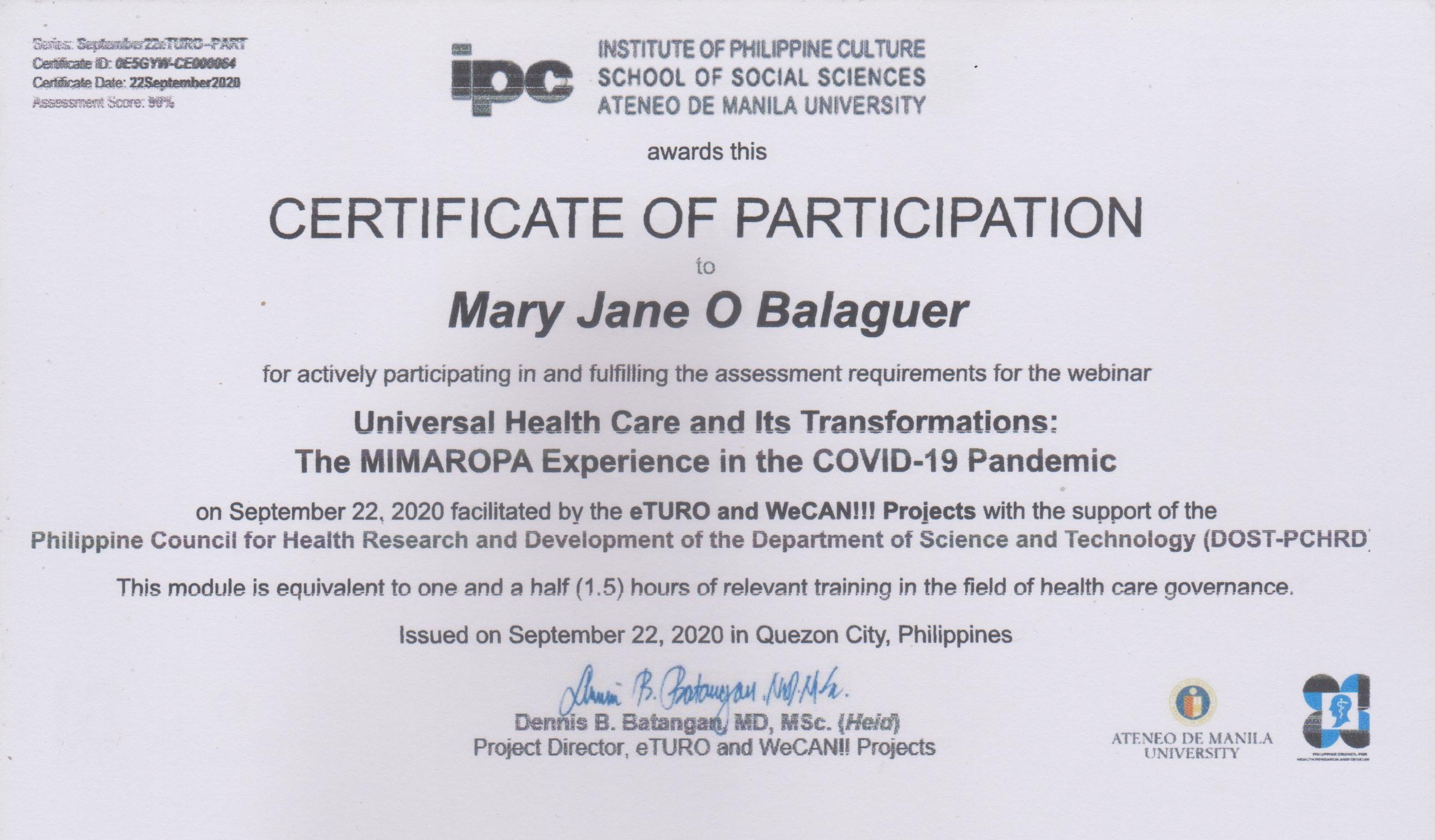 Mary Jane Balaguer Certificate of Participation