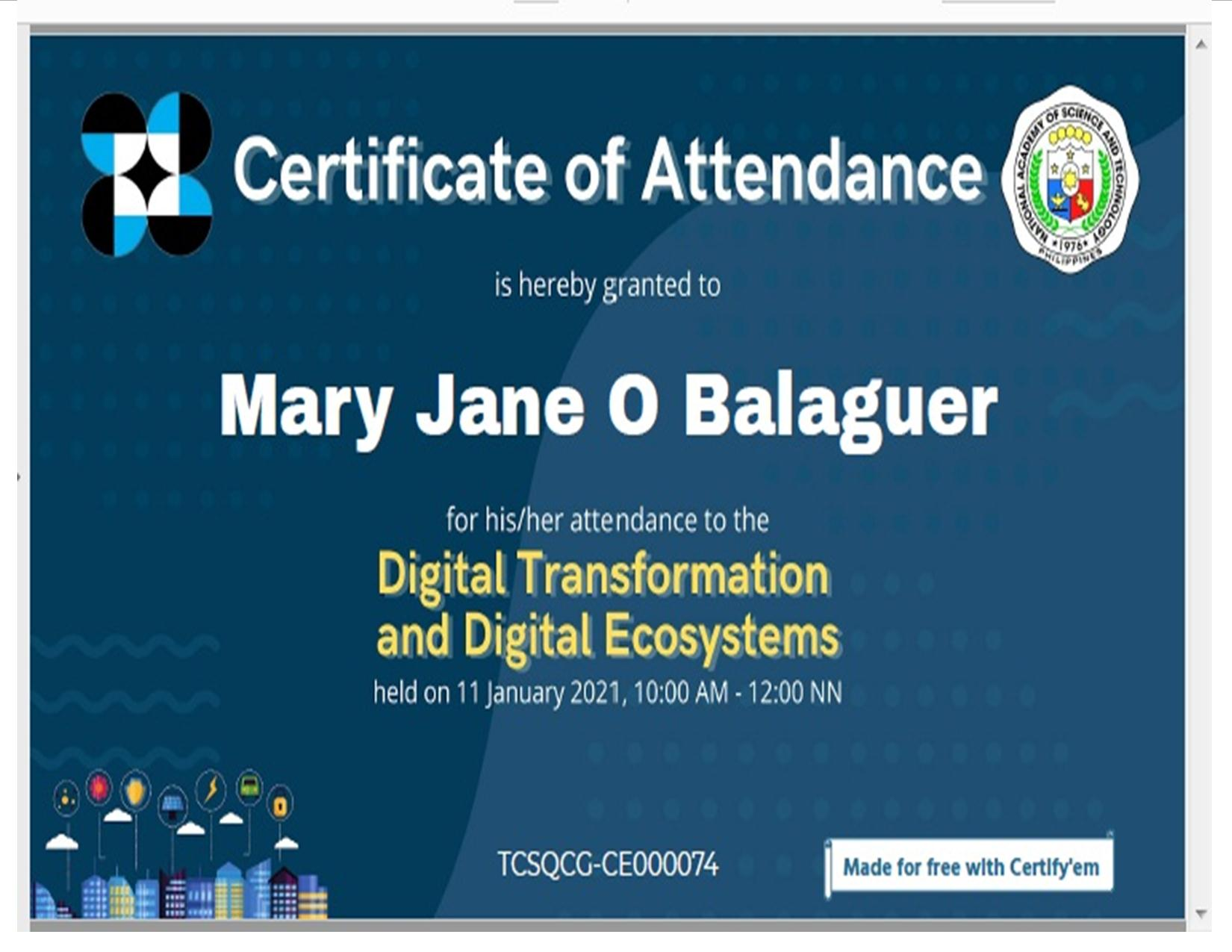 digital transformation certificate mary jane 1