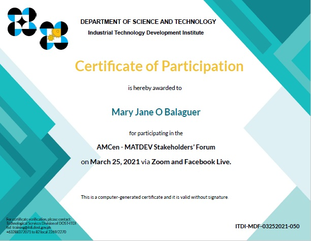 cert of part MATDEV ITDI mary jane